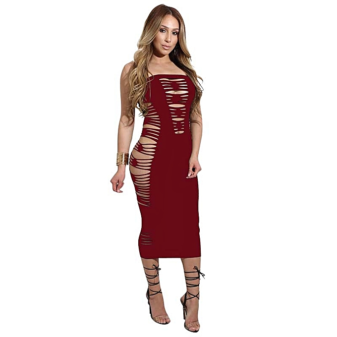 067a8bfc05be Summer Womens Dress Club Party Bandage Runway Bodycon Hollow Out Dress Off  Shoulder Strapless Outfits Tunic Dresses Vestidos Curto - wine red