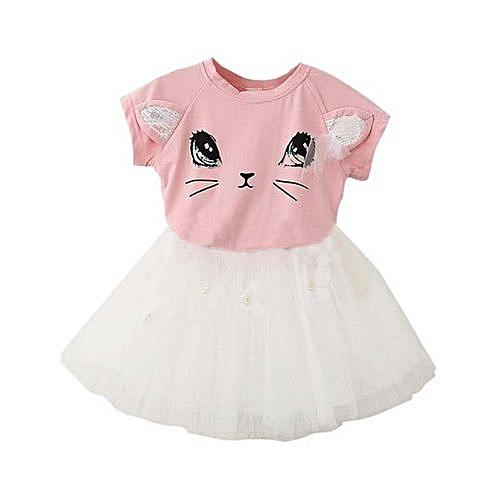cff80081ef05 Generic Kids Girls T-Shirts+Net Veil Tutu Skirt Short Sleeve Cartoon ...