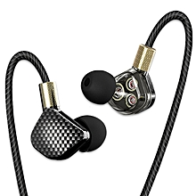KD6 In Ear Earphone 6 Dynamic Driver Unit Headsets Stereo - Black (With Microphone)
