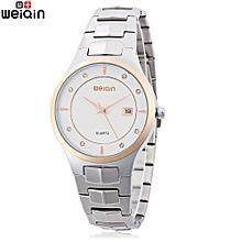 Male Quartz Watch Artificial Diamond Stainless Steel Band Wristwatch-WHITE