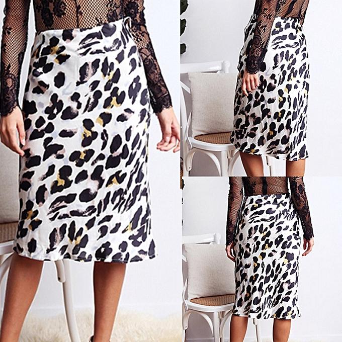 d2f26a7209a459 jiahsyc store Women's Leopard Print High Waist Lady Sexy Fashion Cocktail  Club Long Skirt L