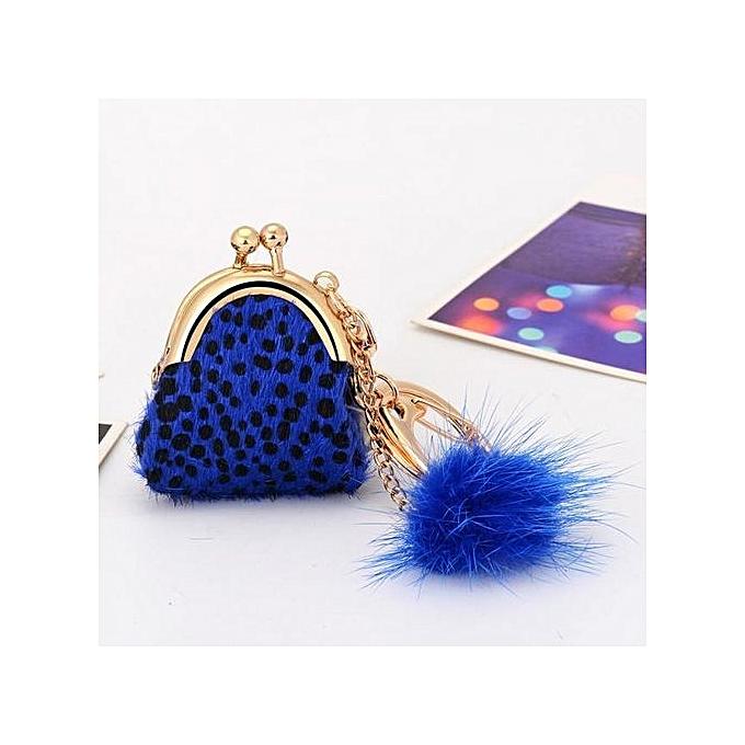 b80db4c7b41f Braveayong Rabbit Fur Ball Plush Car Keychain Handbag Key Ring Key Pendant  BU -Blue