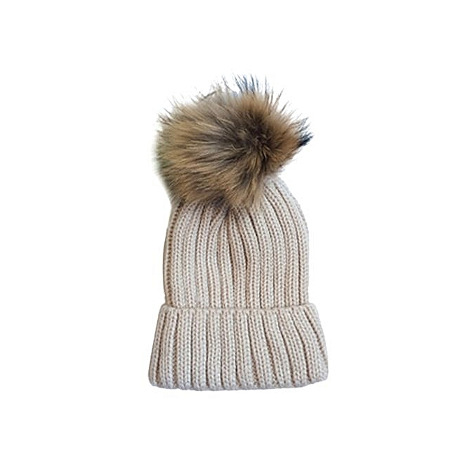 3b46de1e2 Women Fashion Warm Winter Detachable Hairball Hats Knitted Wool Hemming Hat  Cap