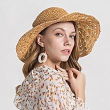 Womens Woven Straw Wide Brim Flat Bill Cap Vacation Sun Protection Beach Floppy Hat