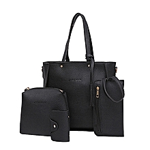 542be1da08fd1 Fashion Four Set Handbag Shoulder Bags Four Pieces Tote Bag Crossbody  Wallet Bags —black