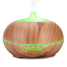 300ml Air Humidifier Wood Grain Aroma Oil Diffuser Night Light LIGHT COFFEE US