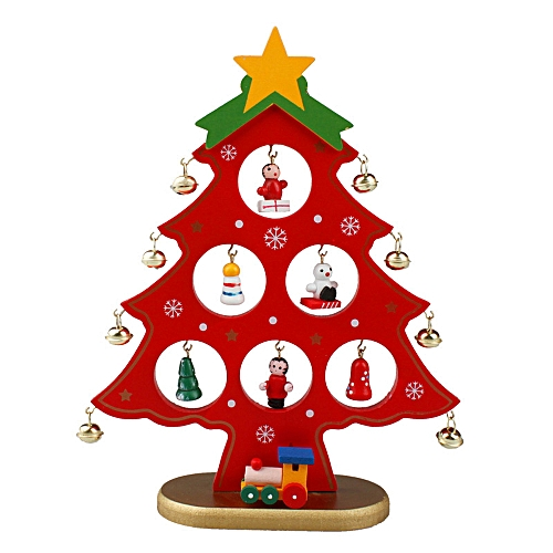 GENERAL DIY Wooden Christmas Tree Christmas Ornament Gift for Xmas Party Decoration - Red