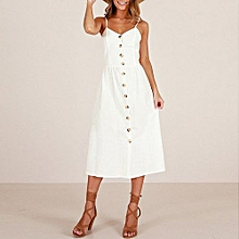 New Summer Women's Floral Print Sleeveless Shoulder-Straps Buttoned Backless Sexy Dress With 20 Colors Optional (White)