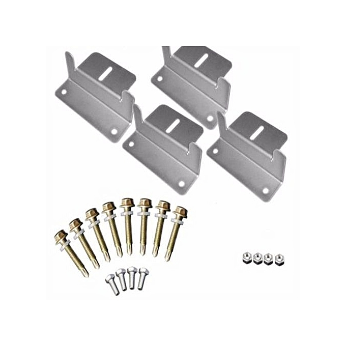 4Pcs Solar Panel Mounting Z-Brackets Set Fixing Kit Fit Caravan Roof  Stainless-