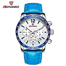 Watches, 80172 Luxury Men Genuine Leather Band Casual Sports Quartz Watches For Men Male Leisure Watch - Blue