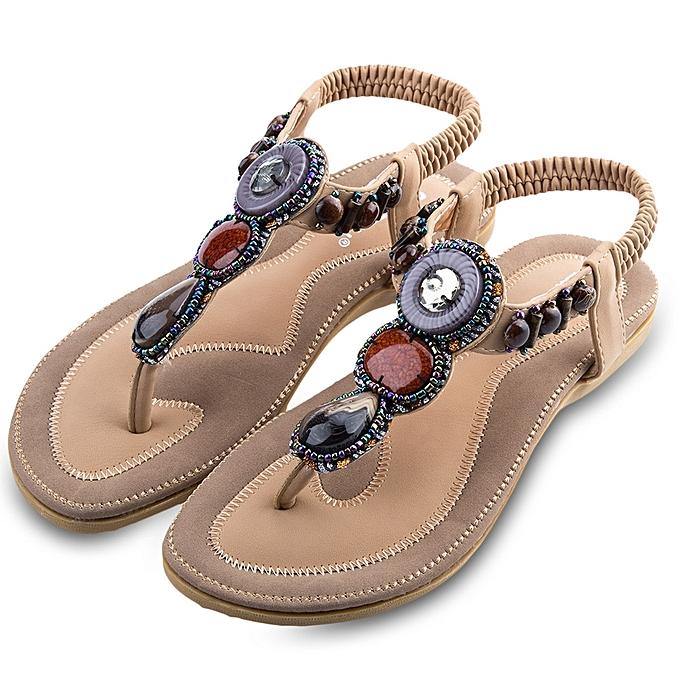 a80da0f4b47edd Ladies Slip On Beach Flip-flop Sandals-APRICOT ... Sandymarket SIKETU  Ladies Bohemia Beads Elastic Band ...