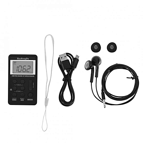 Mini AM/FM 2 Band Stereo Pocket Radio Receiver w/ LCD Display & Earphone &  Rechargeable Accessries
