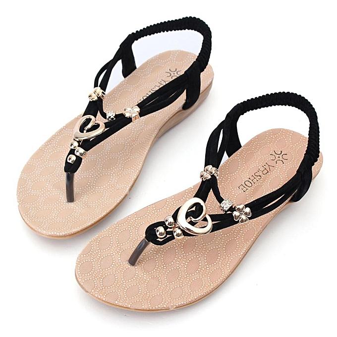 24dc06a899b8 Fashion Fashion Bohemia Heart Shaped Beaded Clip Toe Flip Flops Flat ...