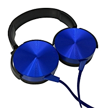 Handsfree 3.5mm Super Bass Wired Headphones with Bass Booster- Blue