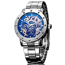 IK Coloring Casual Watch 2016 Men Men's Allochroic Glass Skeleton Dial Auto Mechanical Wristwatch With Box(Black1)