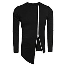 COOFANDY Men Fashion Round Neck Long Sleeve Zipper Irregular Hem Streetwear Hip Hop Style T Shirt ( Blue )