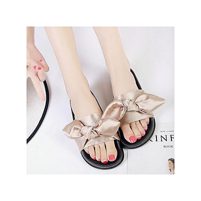 6848d5e635d Hiaojbk Store Summer Women Bow Wedge Sandals Beach Shoes Flip Flops  Platform Slippers KH 36- ...