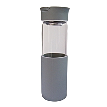 Glass Water Bottle - 460ml - Grey