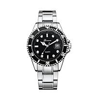 Military GONEWA Date Sport Quartz Analog Stainless Steel Mens Wrist Watch Luxury Brand Watch Wrist Watches- Silver
