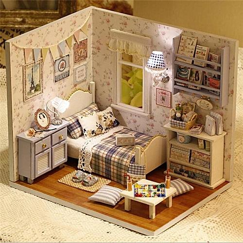 Buy Generic Cuteroom Diy Wooden Doll House Room Box Handmade 3d