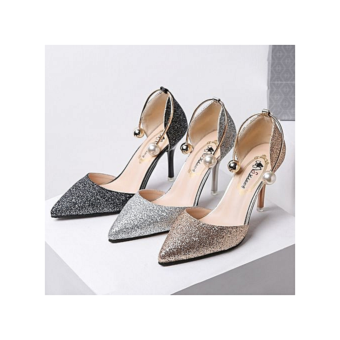 e75c858eecd6 Generic Pointed Toe Pearl Shoes With Fine Heels High Heels-silver ...