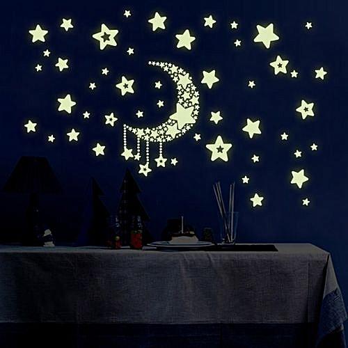 Allwin Diy Night Light Glow In The Dark Moon Stars Wall Stickers