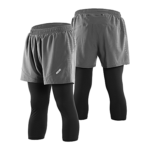 ff353ef5 Arsuexo Men's 2 in 1 Running Capri Pants Breathable Active Training Workout  Shorts Leggings Tennis Baseball Pants with Pockets
