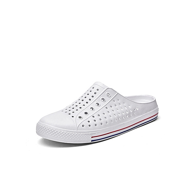 5e8ceb3083db63 Generic Hot Super Large Size Men s hole shoes Male and female couples  slippers breathable beach hollows sandals-white