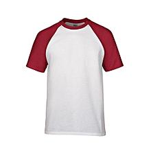 Men's Preshrunk Contrast Shoulder Sleeve T-Shirt (White/Red)