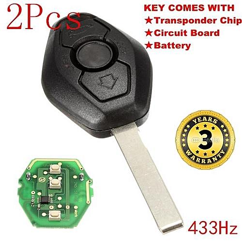 2pcs 433MHz Keyless Entry Remote Key Fob Transmitter Clicker Uncut Blade  For BMW