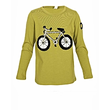 Jungle Green T-Shirt With Black Bicycle Embroidery