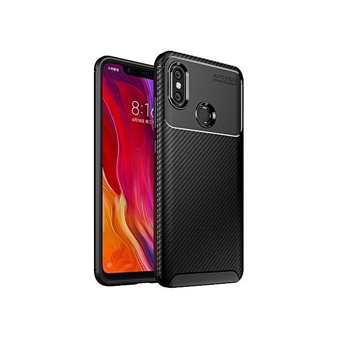 new arrival 964ac 55a84 Xiaomi Mi 8 Silicone Case TPU Carbon Fiber Pattern Anti-knock Phone Back  Cover - Black