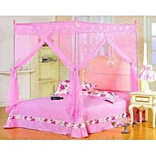 Mosquito net with straight metallic stands -Pink