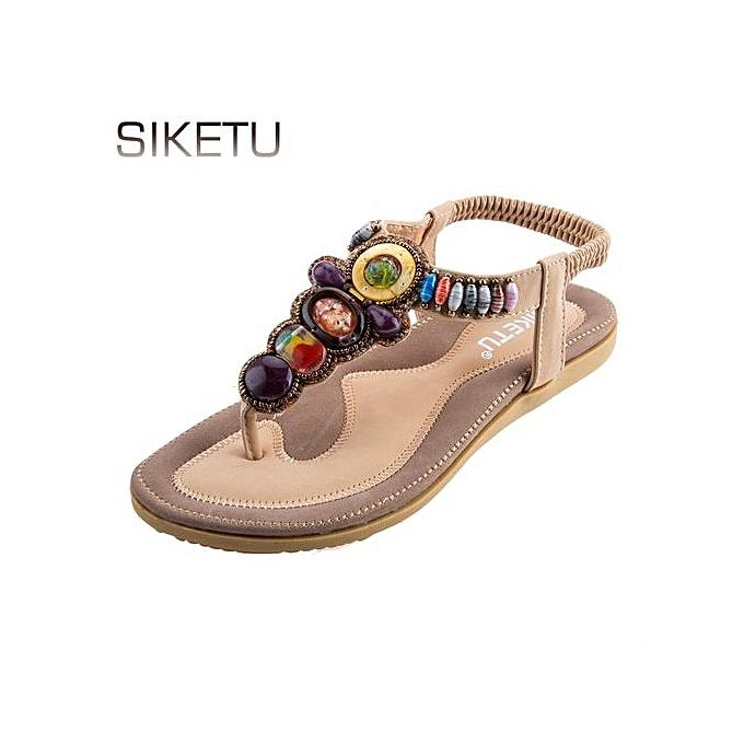 7c451ad0337e2 Sandymarket SIKETU Ladies Bohemia Beads Elastic Band Beach Flip-flop Sandals -APRICOT (UK