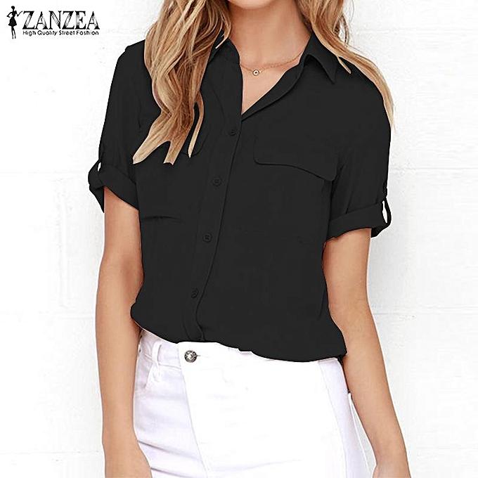 a7784fbcec4 ZANZEA ZANZEA Women Casual Basic Tee T Shirt Blouse Plus Size Button ...