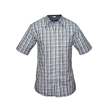 White grey and black checked Slim fit Collier Shirt