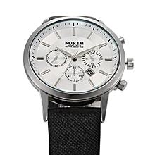 Olivaren NORTH Luxury Mens Genuine Leather Band Analog Quartz Watches Wrist Watch WH White