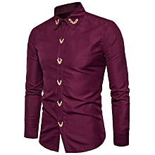 Turndown Collar Floral Embroidered Shirt - WINE RED