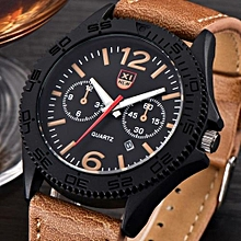 Blicool Wrist Watch Military Men's Leather Waterproof Date Quartz Analog Army Quartz Wrist Watches-brown
