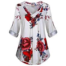 Xiuxingzi Women Plus Size Long Sleeve Print V-neck Button Pullover Tops Shirt