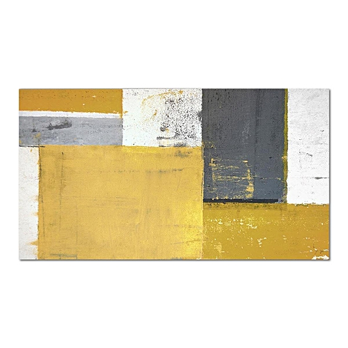 Mustard Yellow Grey Abstract Painting Canvas Wall Art Print Pictures  Unframed # 70*140cm