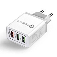 30W 3-Port USB Wall Charger With Dual Quick Charge 3.0 Ports For IPhone /Samsang