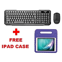 KEYMATE-4: Promate Wireless Keyboard & Mouse Combo+ FREE Purple Shock Proof Kiddie Case for iPad Air 2