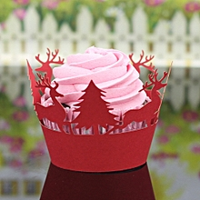 24Pcs Christmas Hollow Lace Cup Muffin Cake Paper Case Wraps Cupcake Wrapper Red