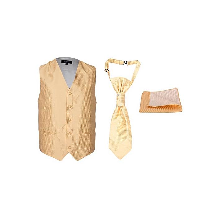 3454798062a Generic Gold 3 Pc Waistcoat, Cravat And Pocket Square Set @ Best ...