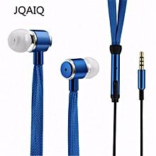 JQAIQ Shoelaces Earphone Stereo Sound Metal Bass Headphones Blue