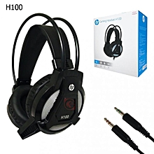 H100 Wired Gaming Headset Earphone With Mic Volume Control & Led Light For Computer - black