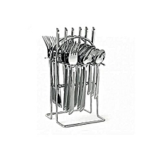 (24)pieces Stainless Steel Cutlery Set Cutlery + Rack .