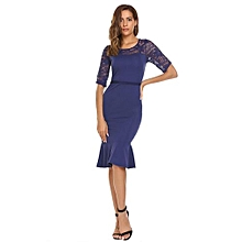 Women Half Sleeve Patchwork Fishtail Dress Package Hip Calf Party Banquet ( Navy Blue )