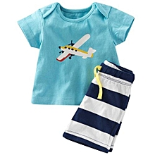 Kidlove Short Sleeve Round Neck Tops Knee-length Short Pants 2pcs Clothes Set Colour:aircraft Size:Eighty